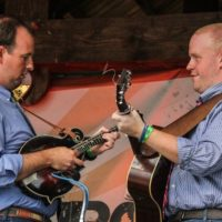 Joey Lemons and Jesse Smathers with Terry Baucom & The Dukes of Drive at the August 2018 Gettysburg Bluegrass Festival - photo by Frank Baker