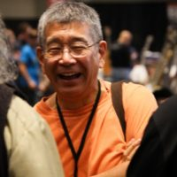 Akira Otsuka in the exhibit hall at the 2018 Wold of Bluegrass (9/26/18) - photo by Frank Baker