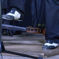Mark Schatz's dancin' shoes at the 2018 Nothin' Fancy Bluegrass Festival - photo © Bill Warren