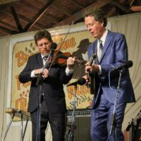 Tim O'Brien and Nick Forster with Hot Rize at the 2018 Delaware Valley Bluegrass Festival - photo by Frank Baker