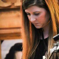 Carolyne VanLierop with Amanda Cook at World of Bluegrass (9/25/18) - photo © Frank Baker