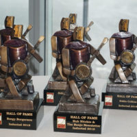 Induction trophies for the 2018 American Banjo Museum Hall of Fame - photo by Pamm Tucker
