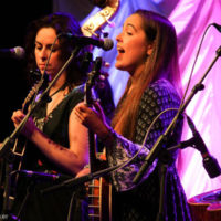 Leanne Thorose and Tabitha Agnew with Midnight Skyracer at the 2018 World of Bluegrass (9/26/18) - photo © Frank Baker