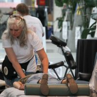 Massage therapists worked all day at World of Bluegrass 2018 - photo © Frank Baker
