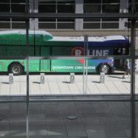 R-Line bus that hauled folks around Raleigh during the 2018 World of Bluegrass - photo © Frank Baker