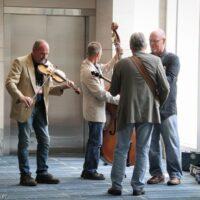 Hallway jam at World of Bluegrass 2018 - photo © Frank Baker