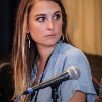 Katie Keller at the New Attendee Orientation at World of Bluegrass 2018 - photo © Frank Baker
