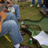 Jamming with a set list.Tom Mindte, Rodger Nelson & Steve Benedik's Fall Pickin' Party, held this year in Woodbine, MD. 6 - 7 October, 2018. Photo by Jeromie Stephens