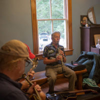 Marv Reitz takes a lap on clarinet as Tom Mindte and Tom Jarboe support.  Tom Mindte, Rodger Nelson & Steve Benedik's Fall Pickin' Party, held this year in Woodbine, MD. 6 - 7 October, 2018. Photo by Jeromie Stephens