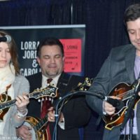 Leaana Price Napier joins her husband, Scott, with the Dean Osborne Band for a twin mandolin piece at 2018 Bluegrass Christmas in the Smokies - photo © Bill Warren