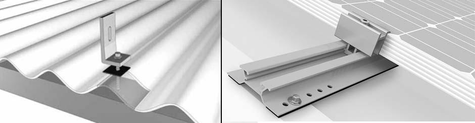 estrutura fixação paineis fotovoltaicos telhas metálicas onduladas e trapezoidais