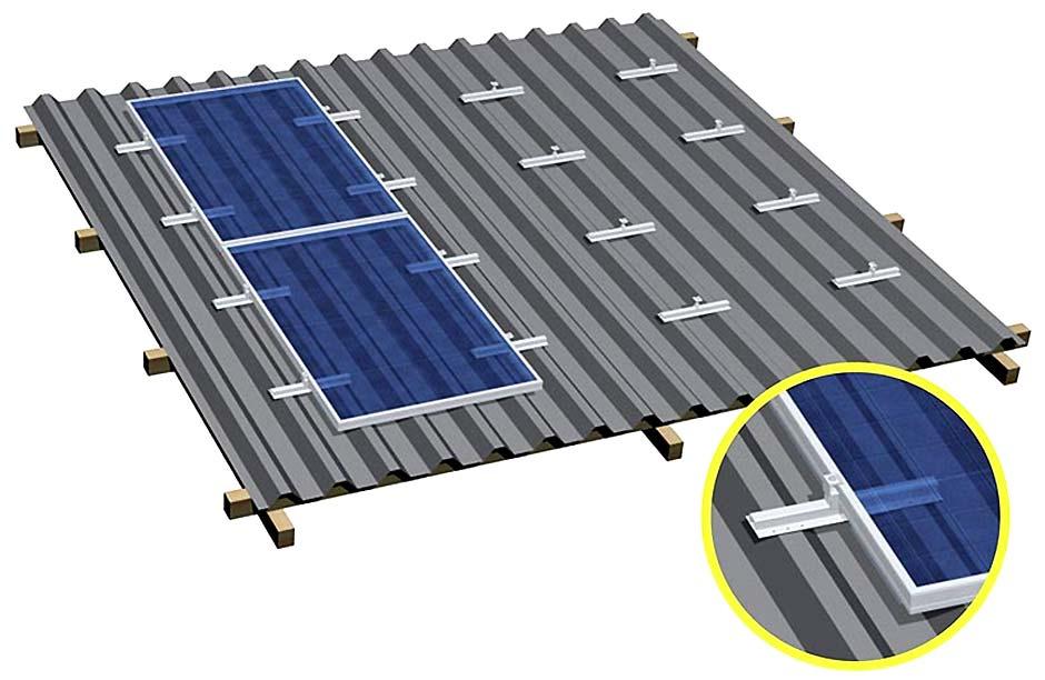 estrutura fixação paineis fotovoltaicos telhado trapezoidal