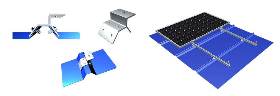Estrutura de fixação de painéis fotovoltaicos para telhas metálicas trapezoidais: