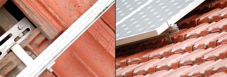 """Fixação de painéis fotovoltaicos em telhas de barro usando """"gancho"""""""