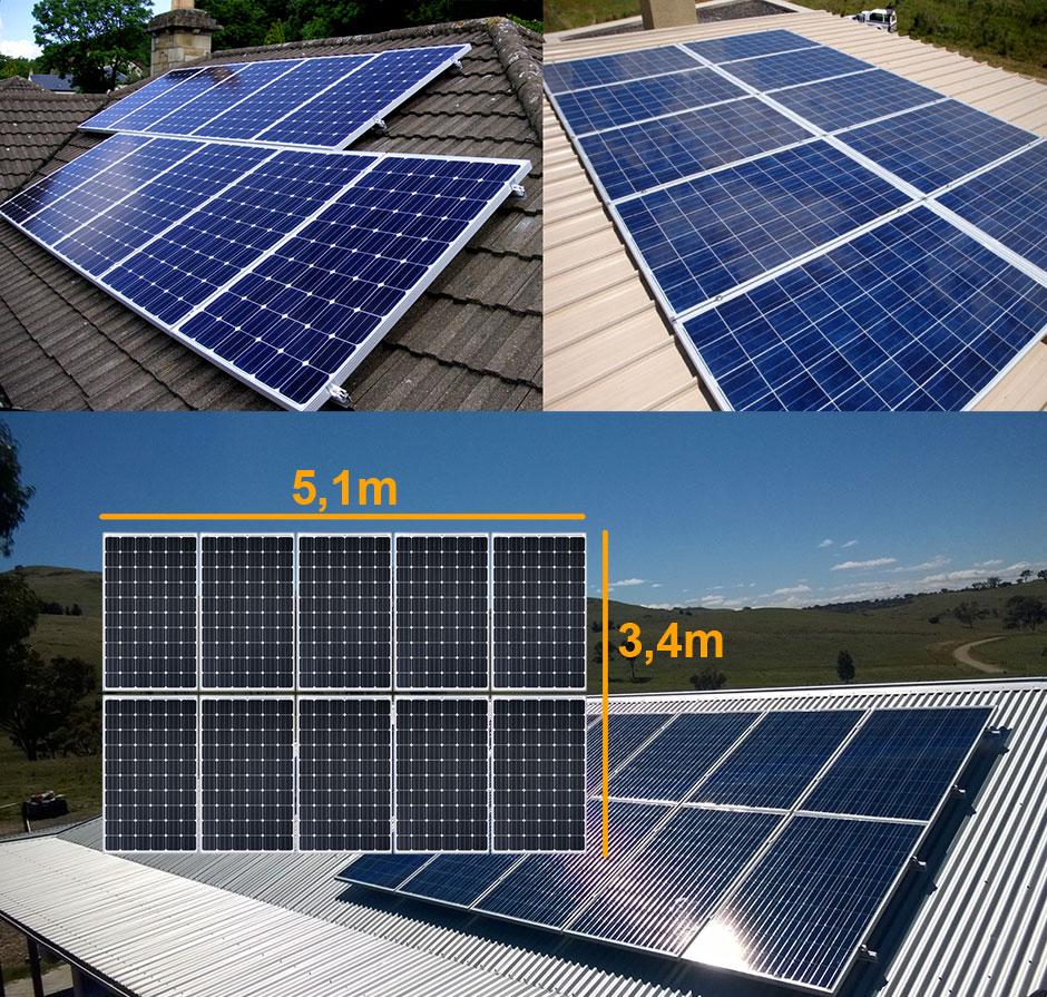 Layout de painéis solares fotovoltaicos no telhado