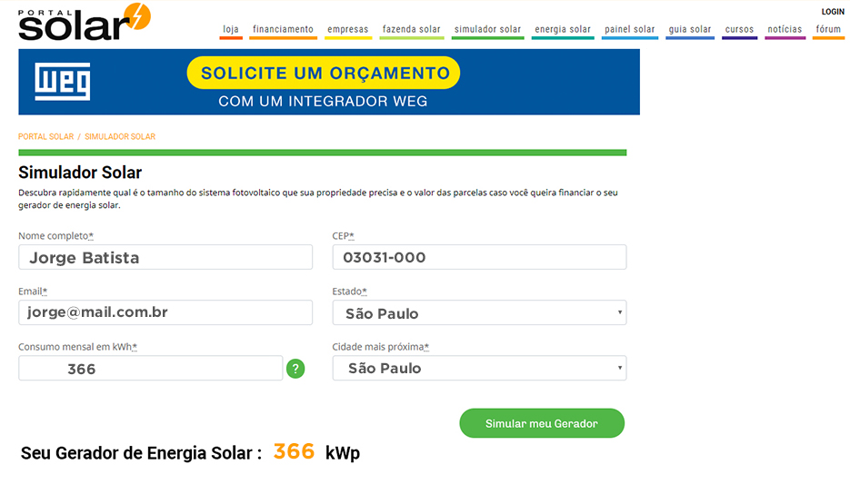 Simulador de custo de gerador de energia solar
