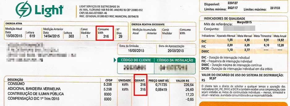 Exemplo 2: Consumo mensal desta conta de luz da light é de 316kWh por mês.