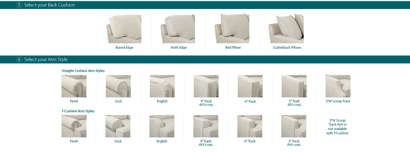 5. Select your Back Cushion. Boxed edge, Knife edge, bed pillow, scatterback pillows. 6. Select your Arm Style. Straight cushion arm styles: panel, sock, english, 9in Track (PDS II only), 6in Track, 3in Track (PDS I only), 3in W Scoop track. T-Cushion Arm Styles: panel, sock, english, 9in Track (PDS II only), 6in Track, 3in Track (PDS I only), 3in W Scoop track arm is not available with T-cushion.