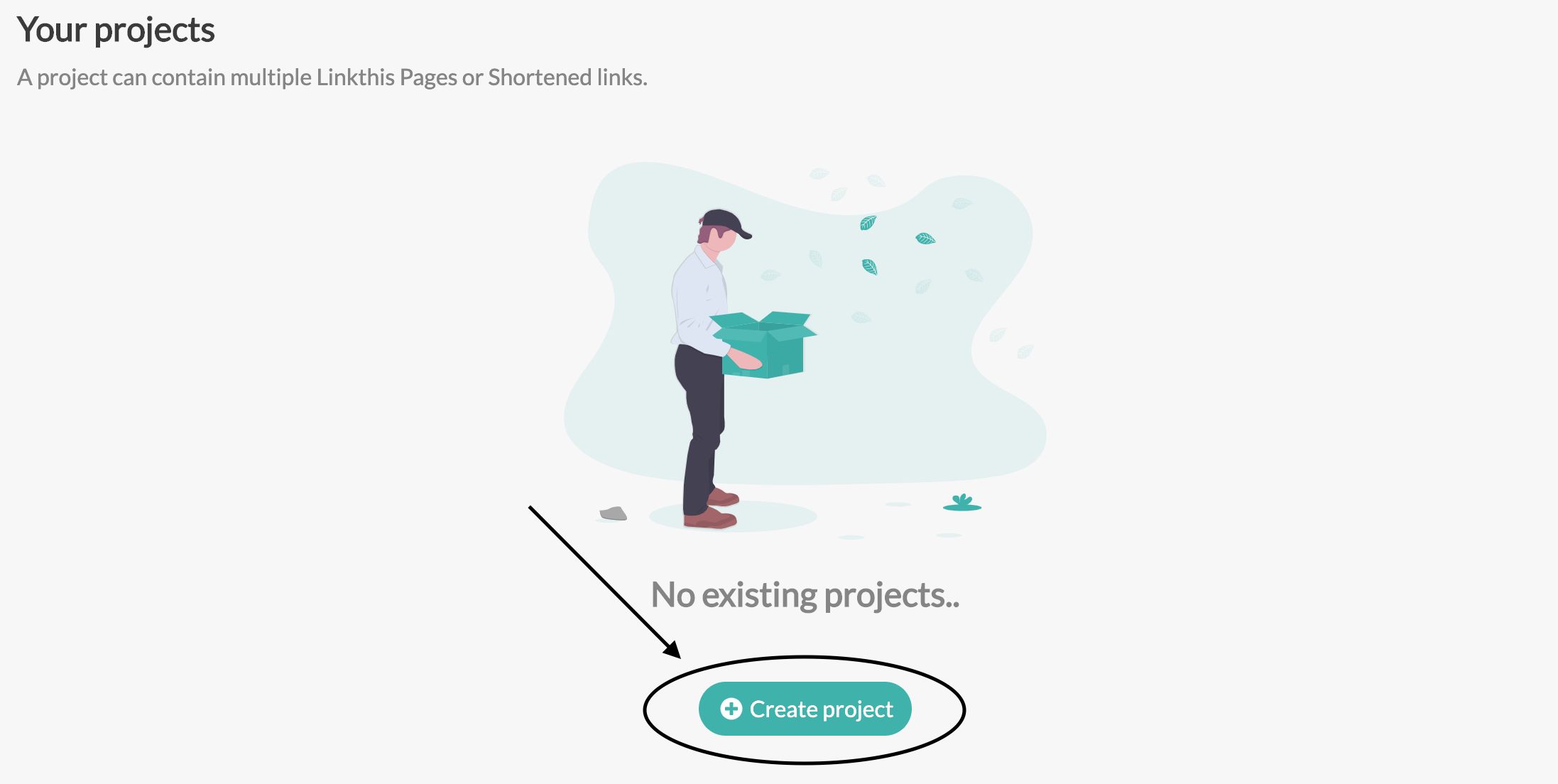 Create a project by clicking the button