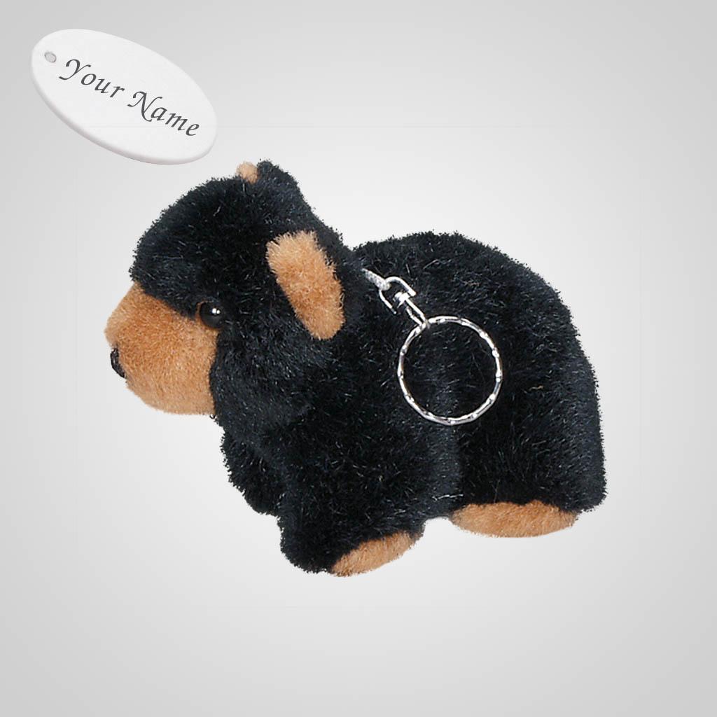 61198IM - Plush Black Bear Keychain, Name-Drop