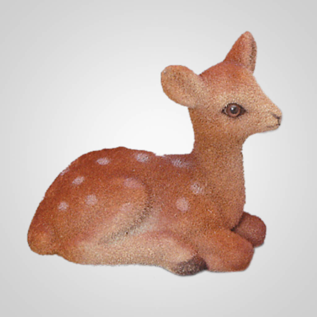 61260 - Small Sitting Flocked Fawn