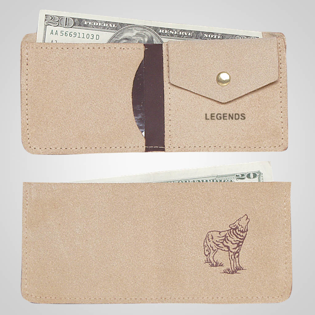 61327IM - Leather Wallet, Wolf Design, Name-Drop