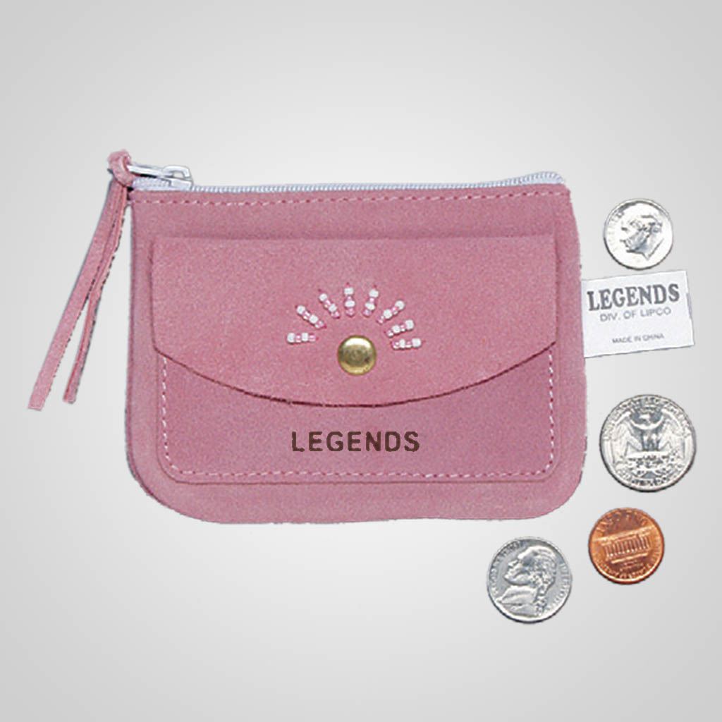 61380IM - Pink Leather Coin Purse, Name-Drop