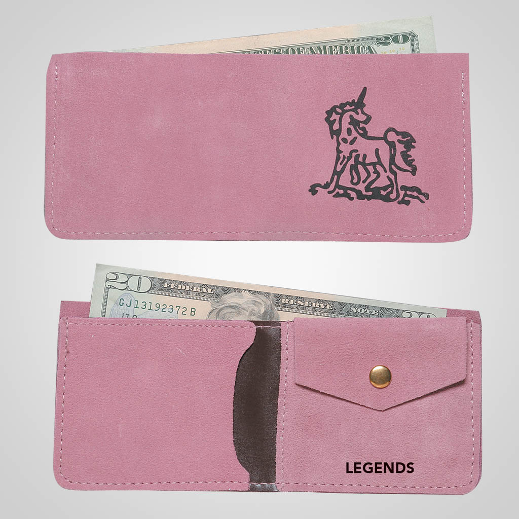 61510IM - Pink Leather Wallet, Unicorn, Name-Drop