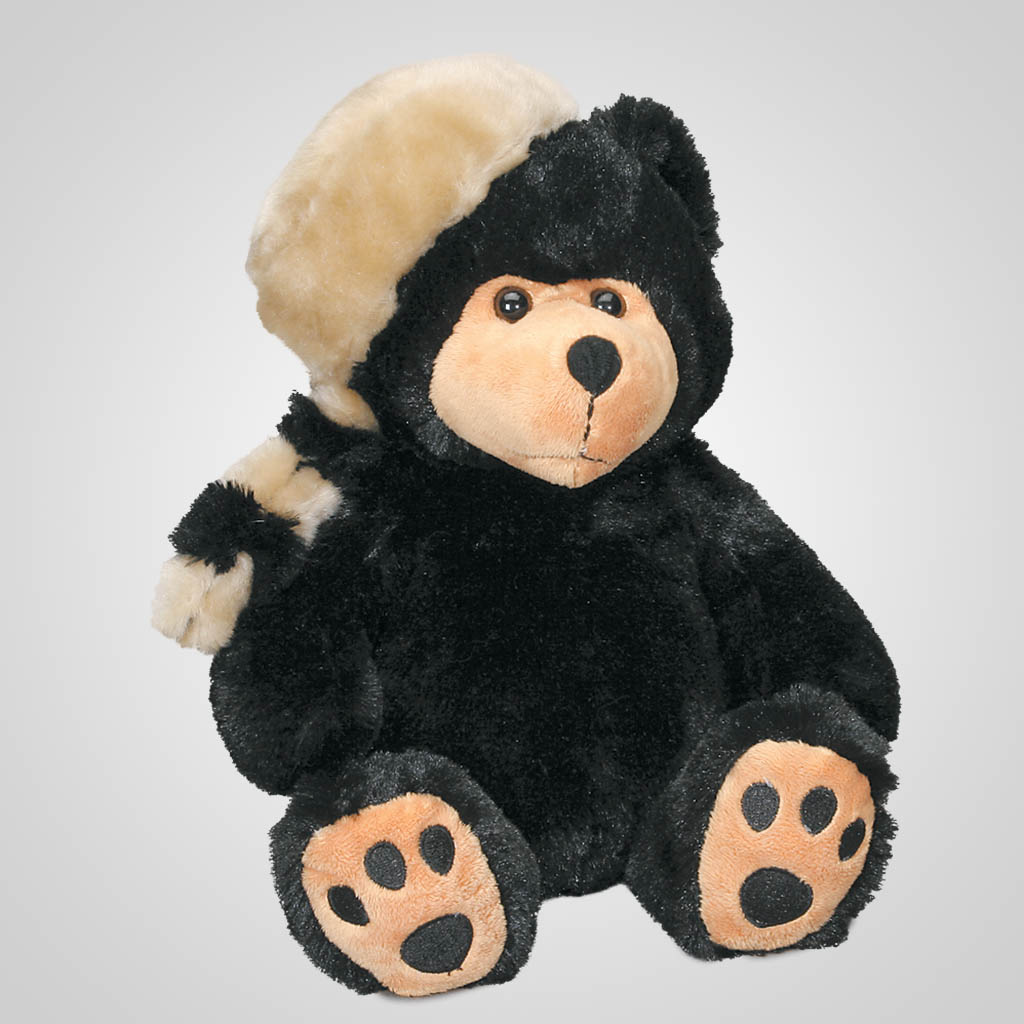 61658 - Plush Bear In Raccoon Cap, Plain