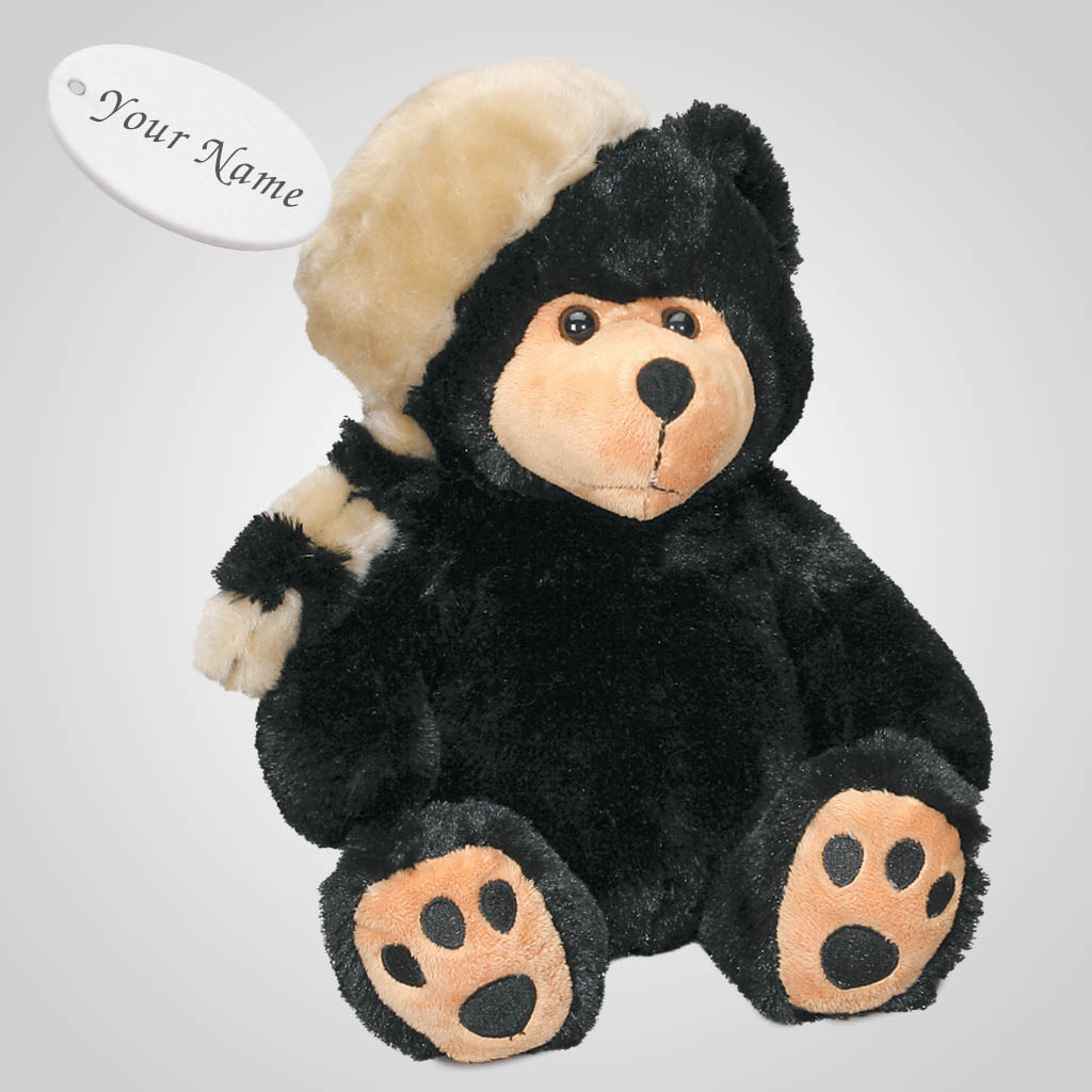 61658IM - Plush Bear In Raccoon Cap, Name-Drop