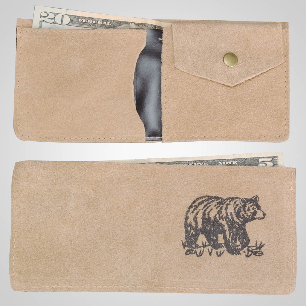 61708PL - Leather Wallet, Bear Design, Plain
