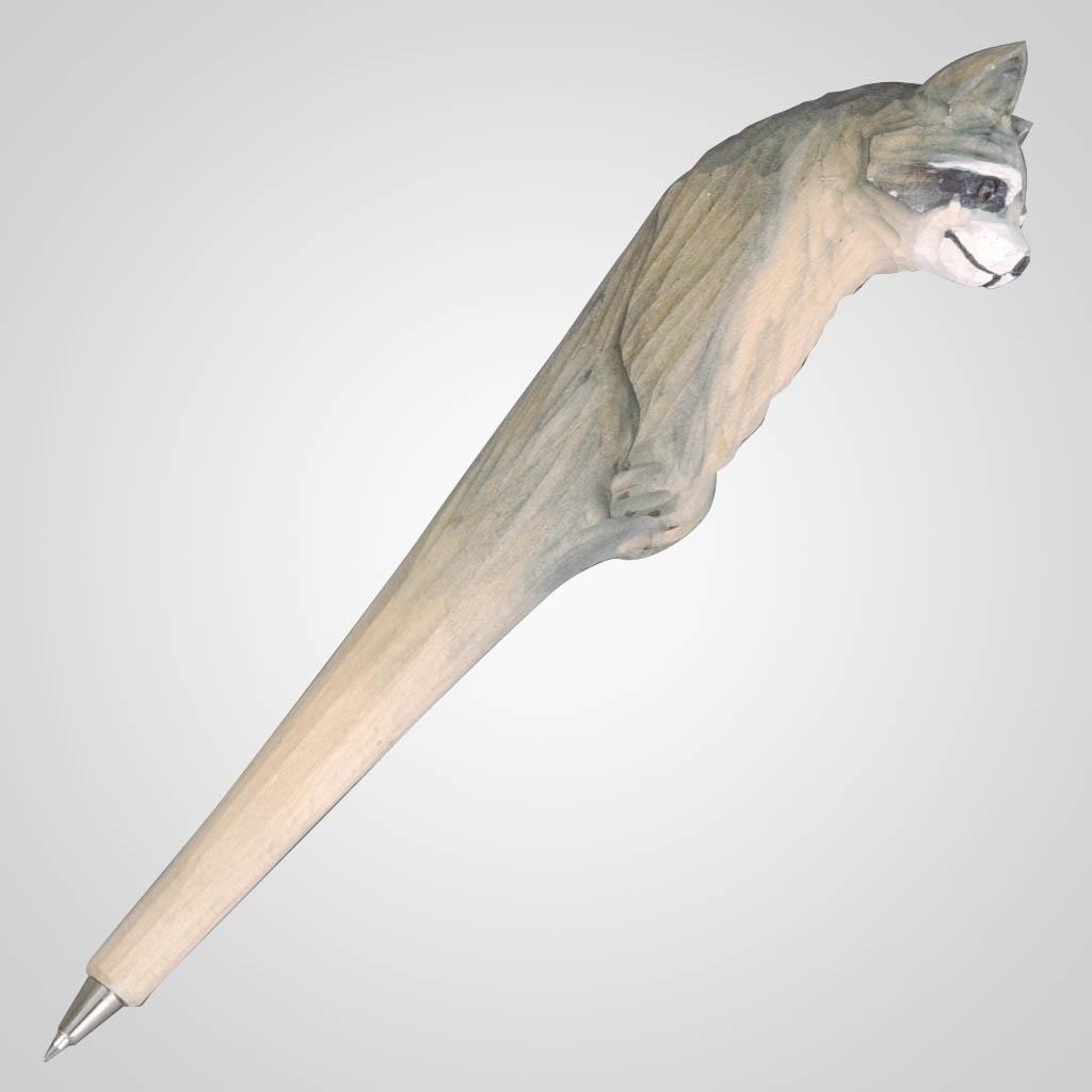 61730 - Carved Wood Raccoon Pen, Plain