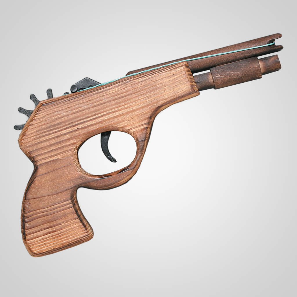 "61992PL - 8"" Wood Rubber Band Gun"