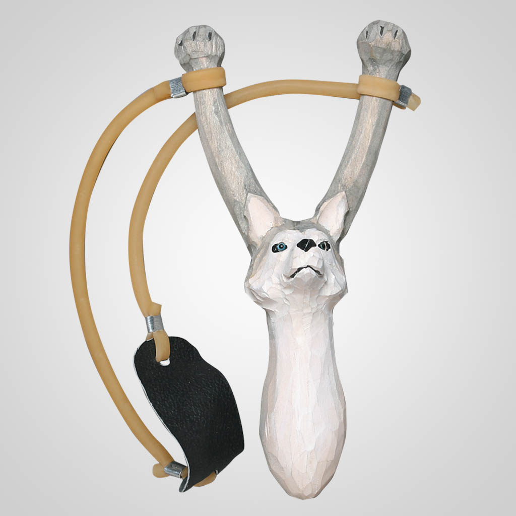 62245 - Carved Wood Husky Slingshot
