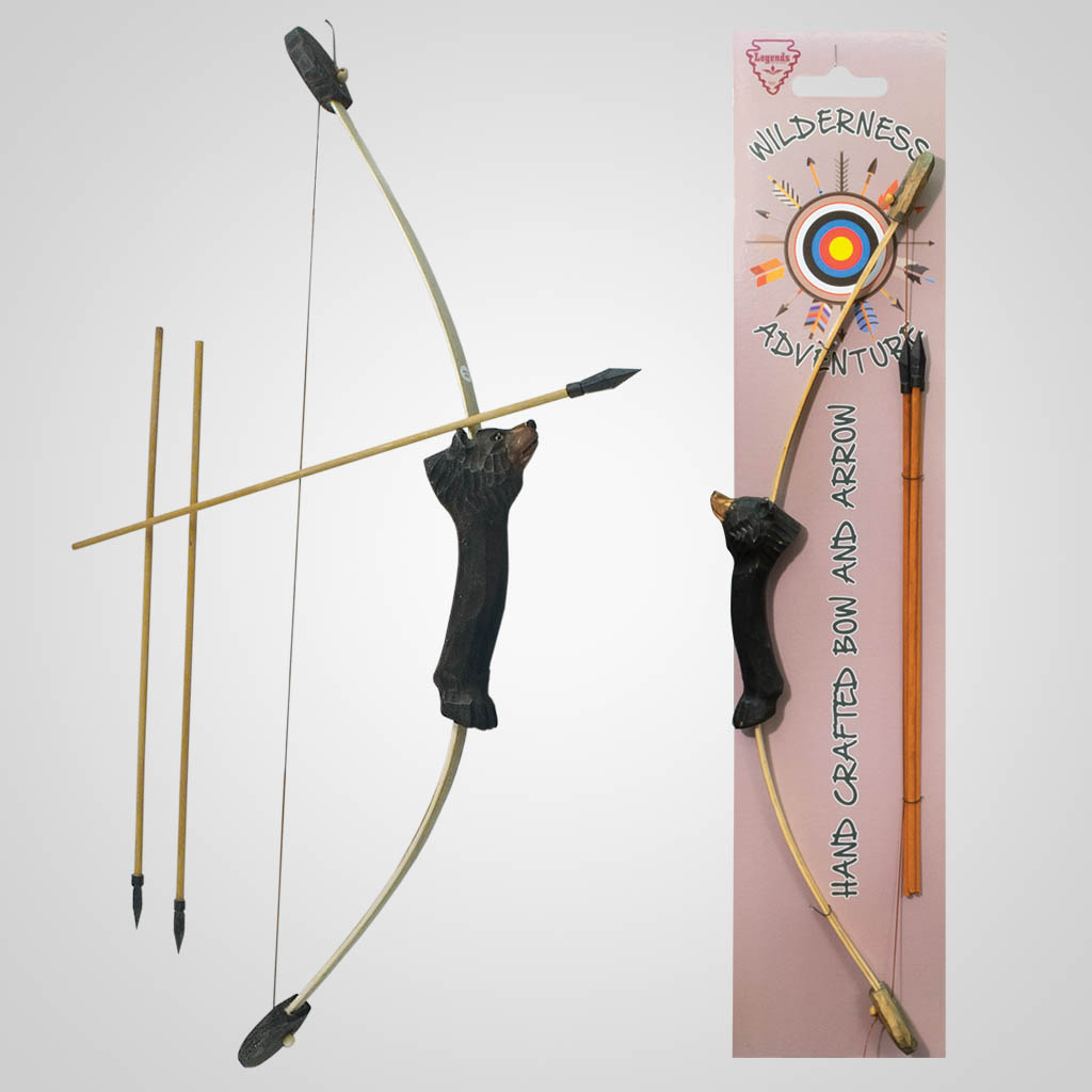 62309 - Carved Wood Bear Bow & Arrows
