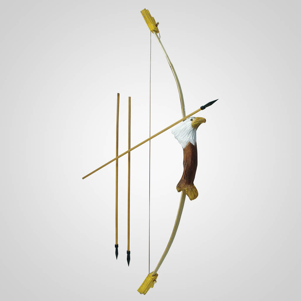 62310 - Carved Wood Eagle Bow & Arrows
