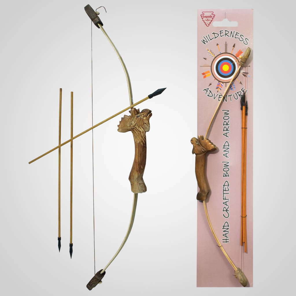 62311 - Carved Wood Moose Bow & Arrows