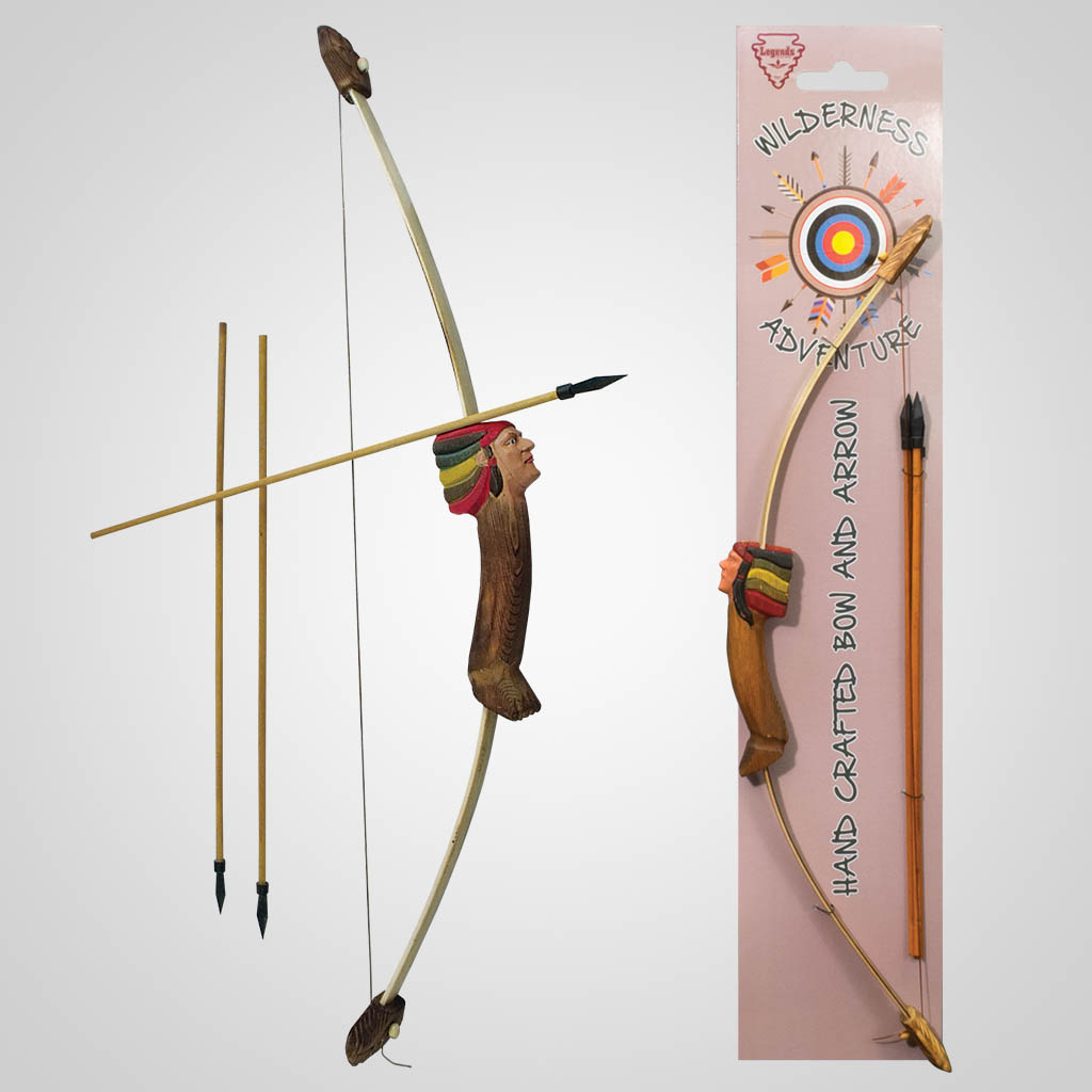 62312 - Carved Wood Chief Bow & Arrows