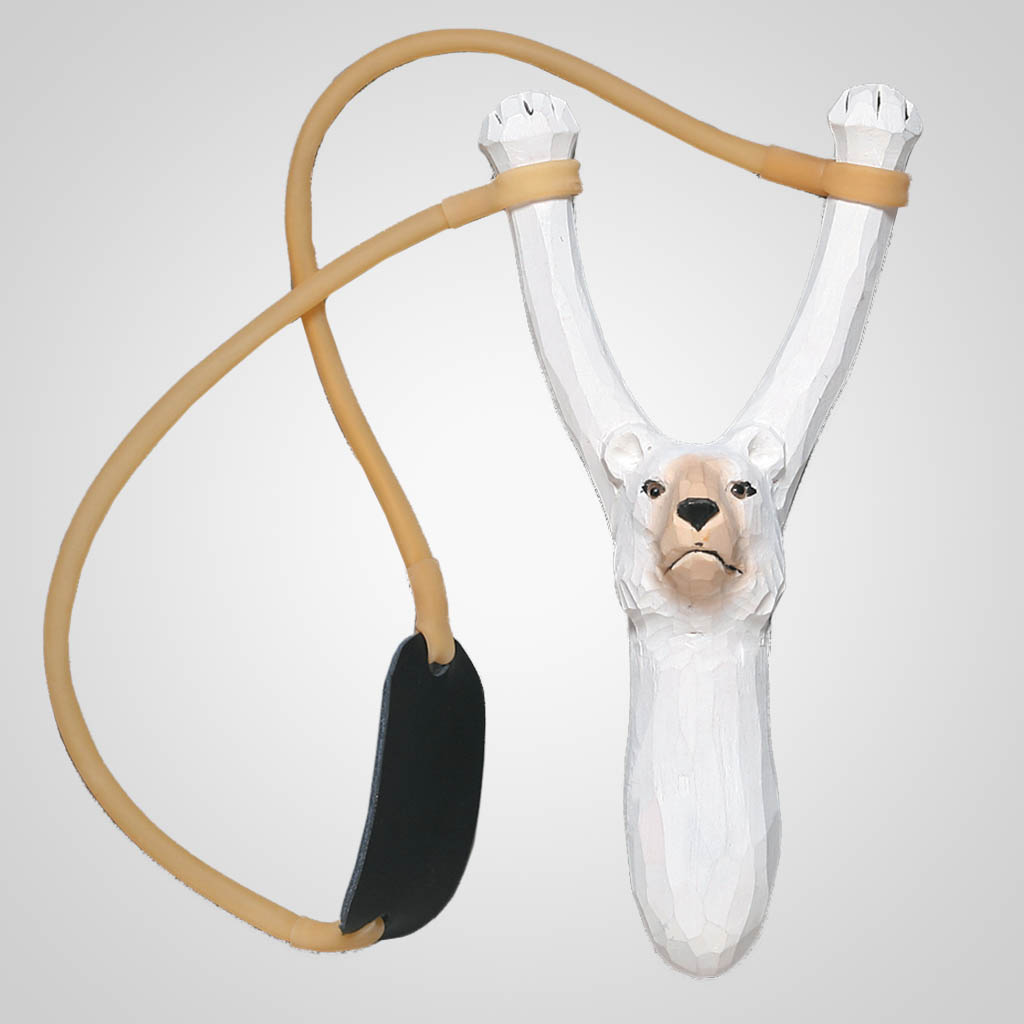 62315 - Carved Wood Polar Bear Slingshot, Plain