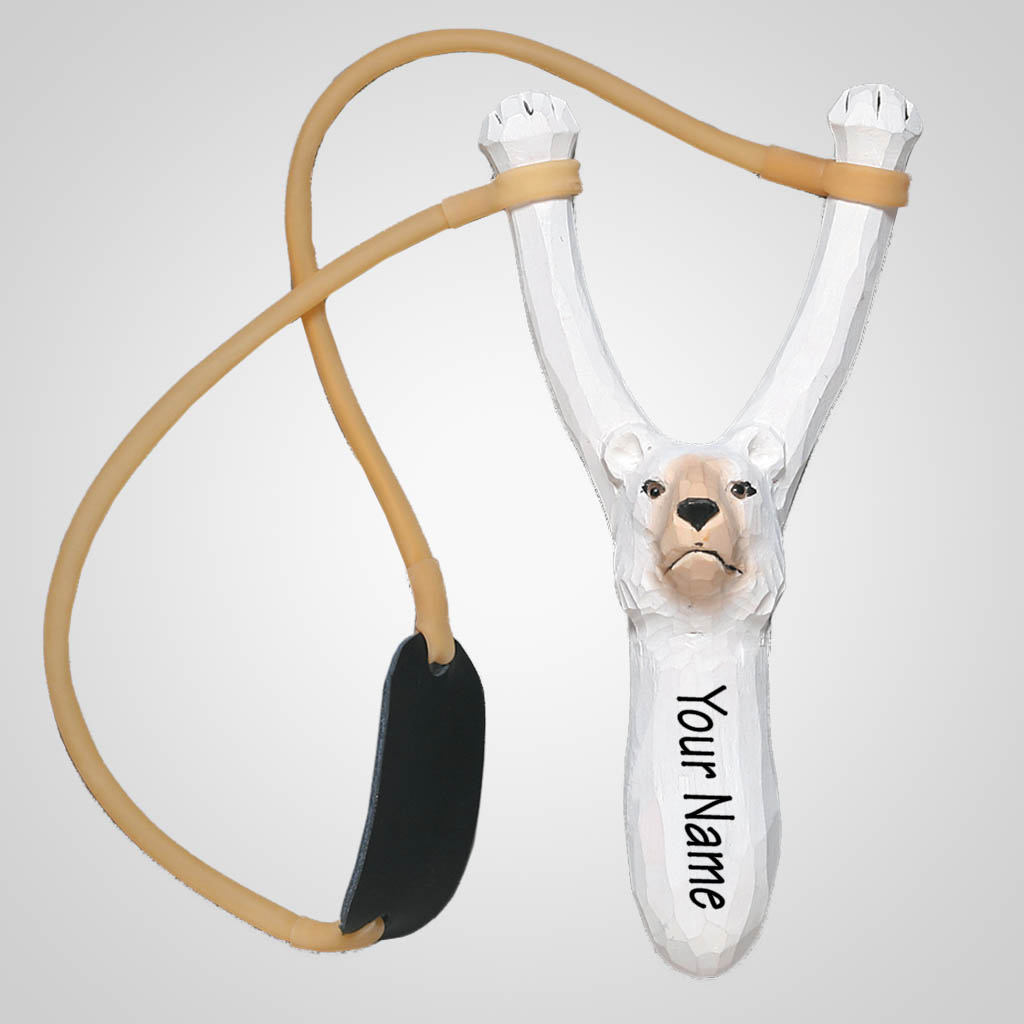62315IM - Carved Wood Polar Bear Slingshot, Name-Drop
