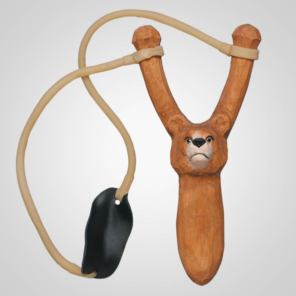 62407 - Carved Wood Brown Bear Slingshot, Plain