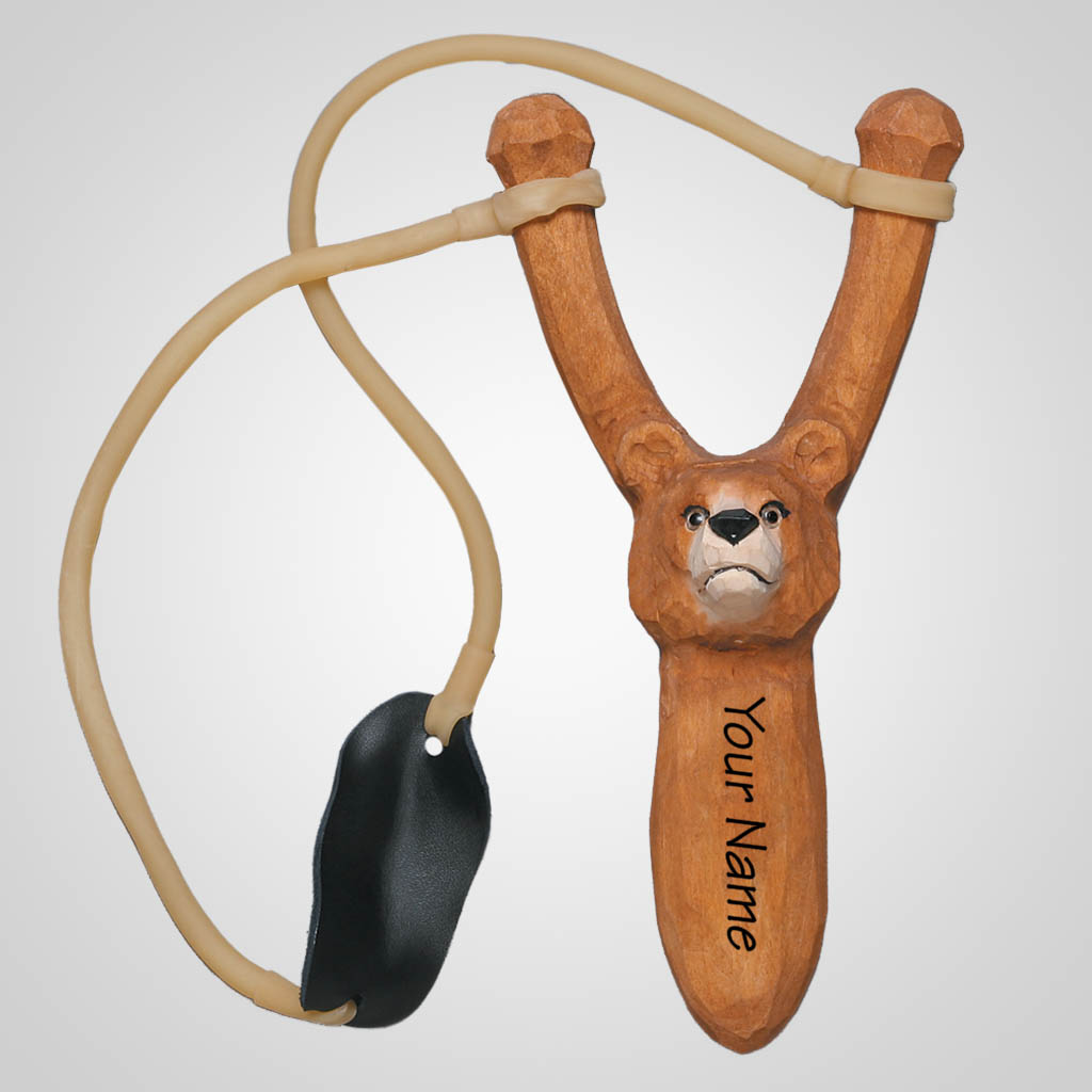 62407IM - Carved Wood Brown Bear Slingshot, Name-Drop