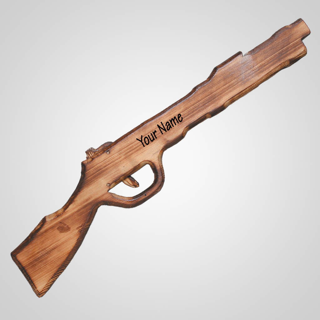 62418IM - Wood Rubber Band Rifle, Name-Drop