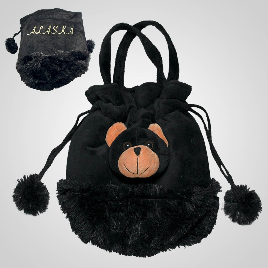 62442AK - Plush Black Bear Purse, Alaska