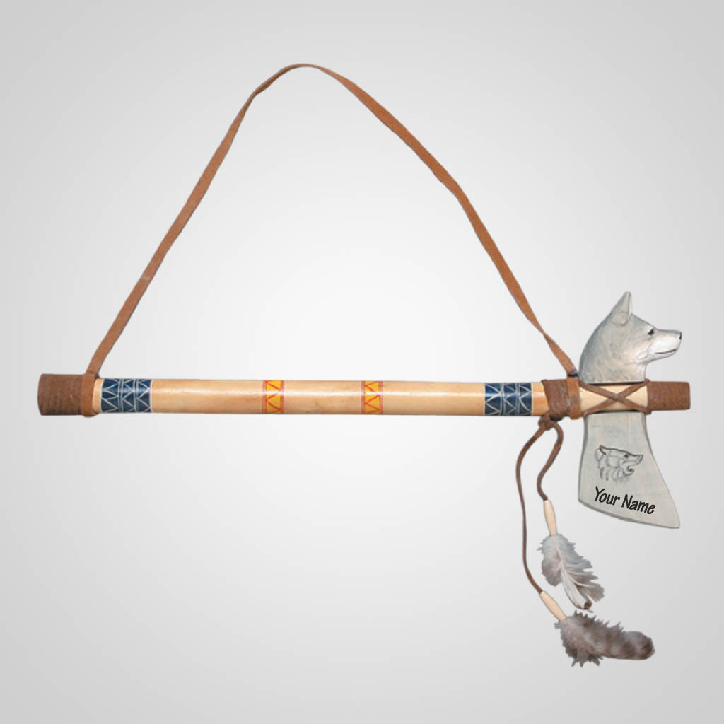 62482IM - Wolf Tomahawk Wall Hanging, Name-Drop