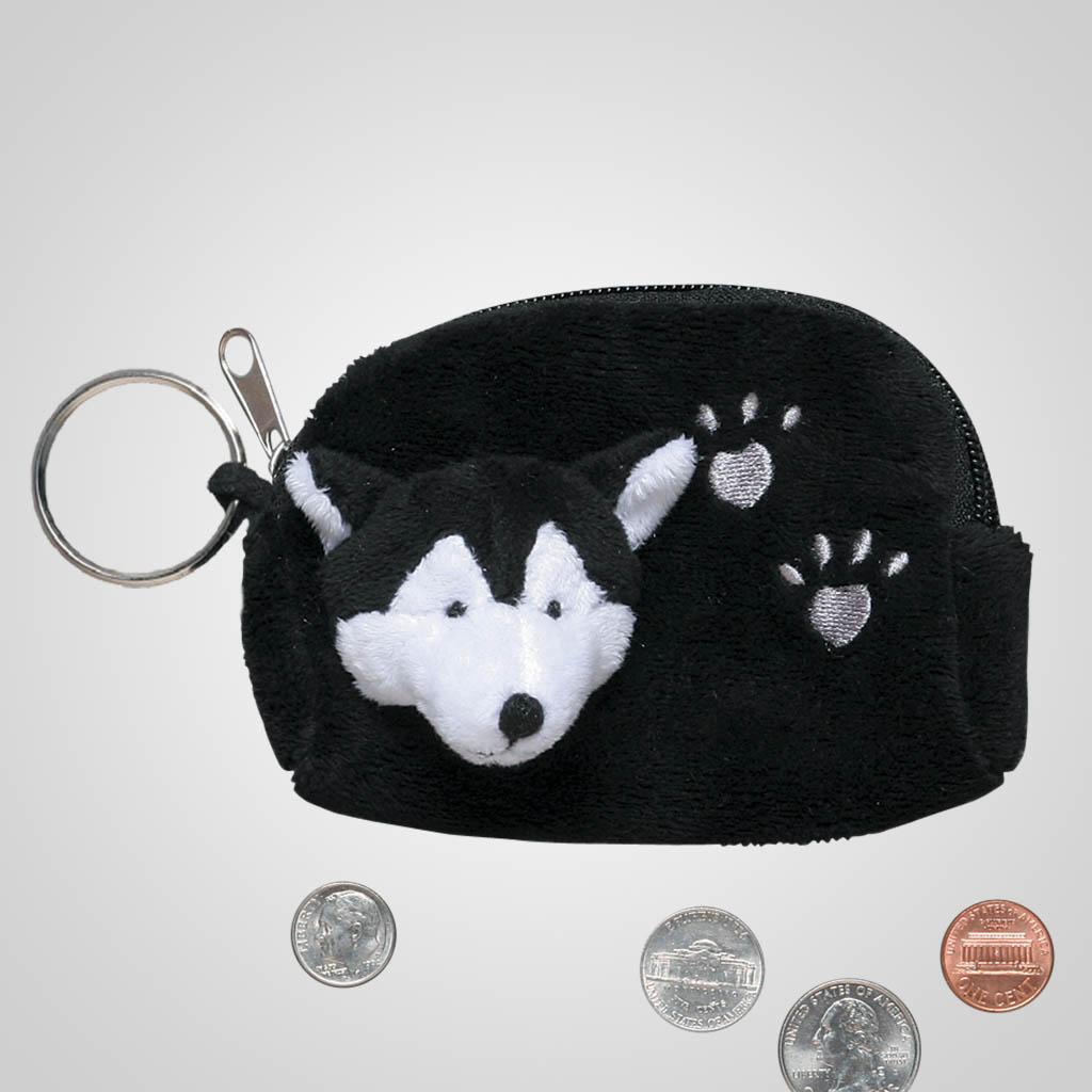 62488 - Plush Wolf Coin Purse, Plain
