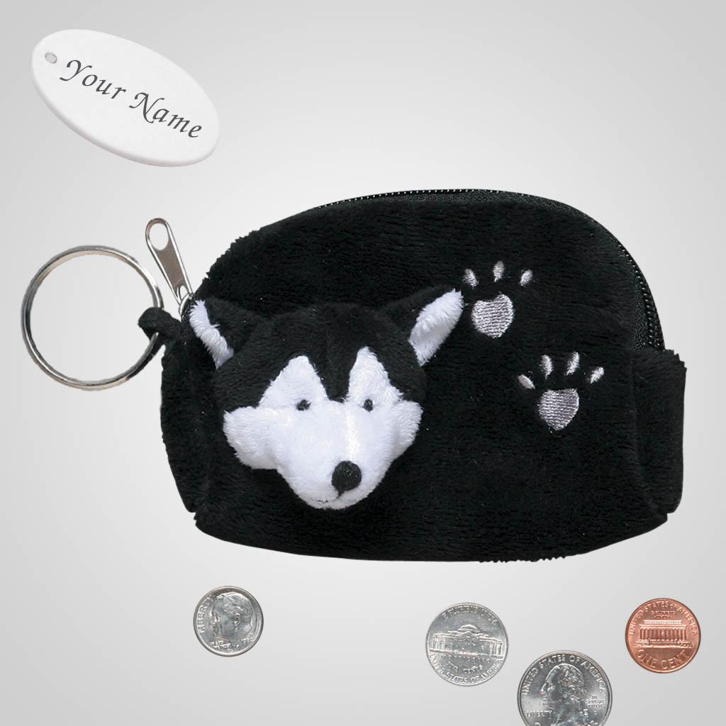 62488IM - Plush Wolf Coin Purse, Name-Drop