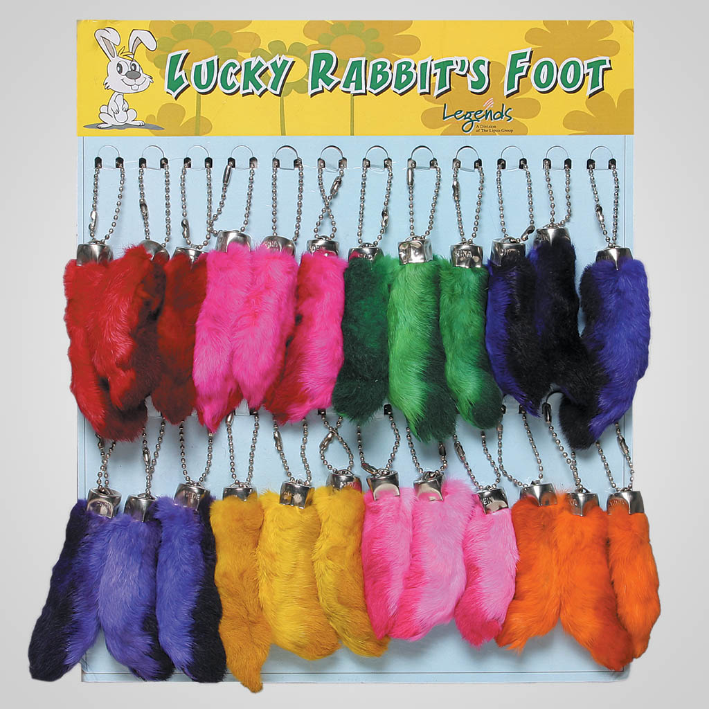 62553 - Colored Rabbit Feet Keychain Card