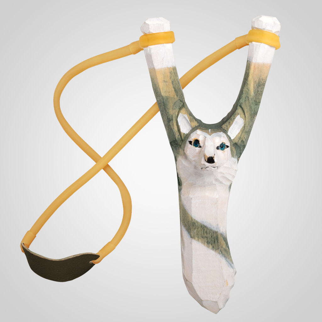 62554 - Carved Wood Husky Slingshot, Plain
