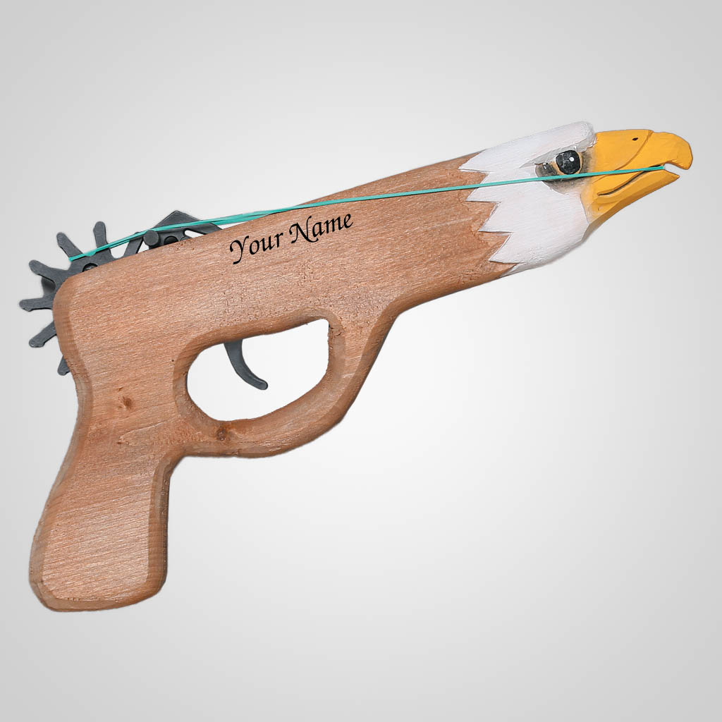 62641IM - Wood Eagle Rubber Band Gun, Name-Drop